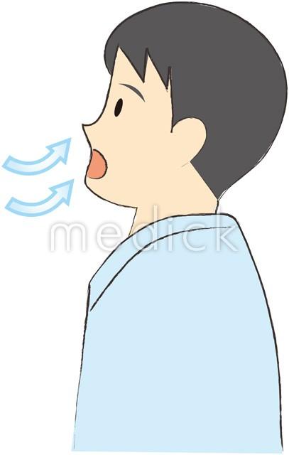 大きく息を吸う男性のイラスト -...