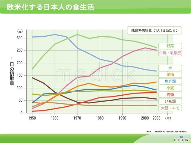 欧米化する日本人の食生活の説明スライド - 医療のイラスト・写真・動画、素材販売サイトのメディック(medick)