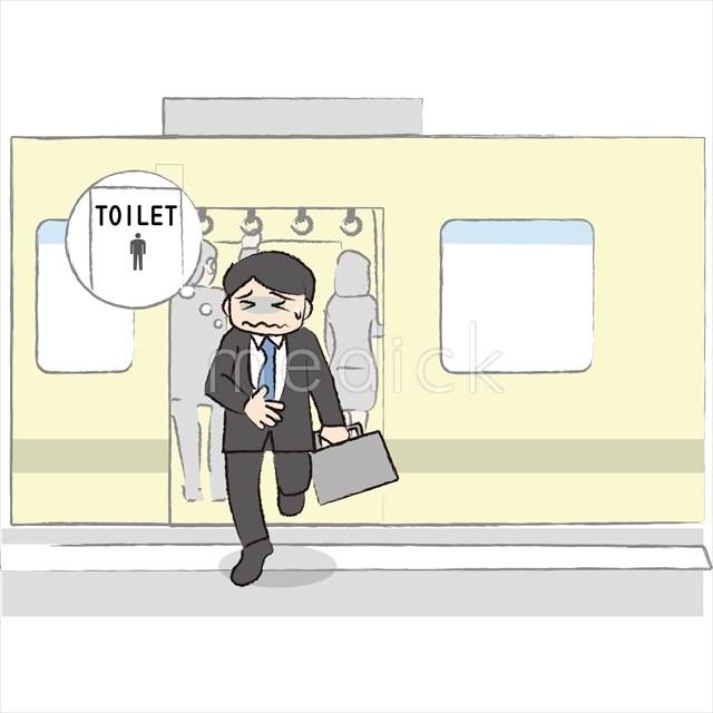 電車から降りる男性のイラスト - 医療のイラスト・写真・動画、素材販売サイトのメディック(medick)