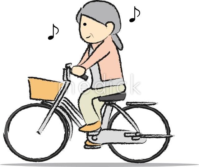 自転車をこぐ女性のイラスト ...