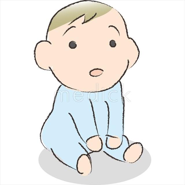 おすわりする赤ちゃんのイラスト 医療のイラスト写真動画素材