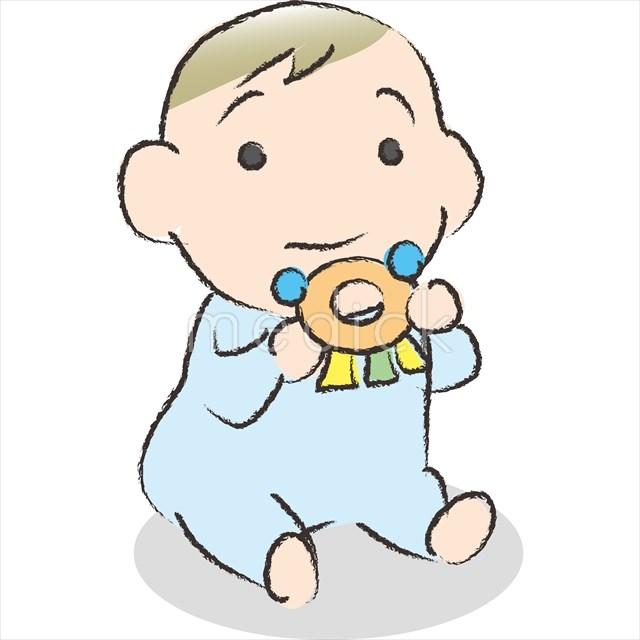 おもちゃで遊ぶ赤ちゃんのイラスト 医療のイラスト写真動画素材