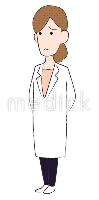 困る女性医師左向きのイラスト 医療のイラスト写真動画素材
