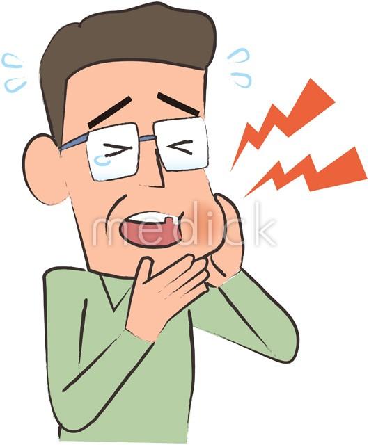 虫歯で痛がる中年男性のイラスト 医療のイラスト写真動画素材