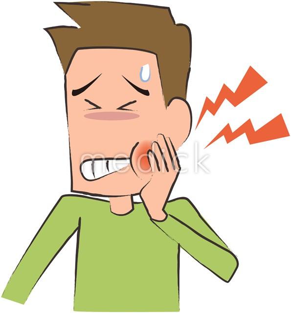 虫歯で痛がる成人男性のイラスト 医療のイラスト写真動画素材